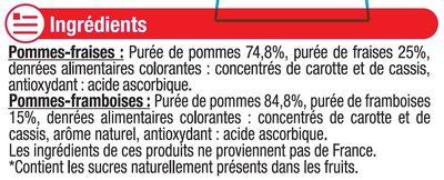 Spécialité de pommes fraises/ Spécialité de pommes framboises sans sucres ajoutés. - Ingredientes