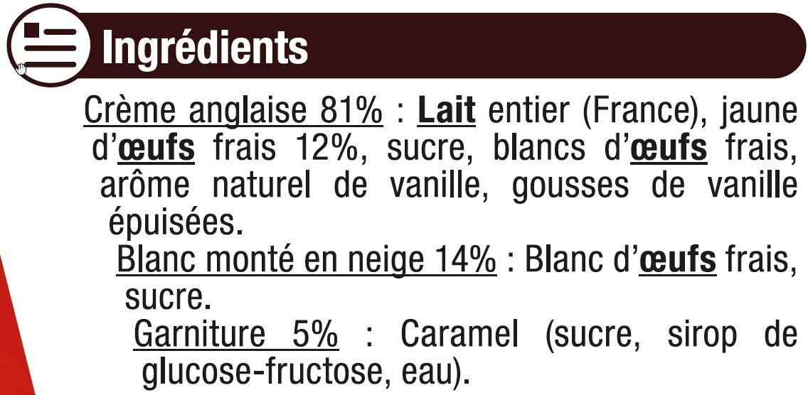 Ile Flottante + sachet caramel - Ingredients