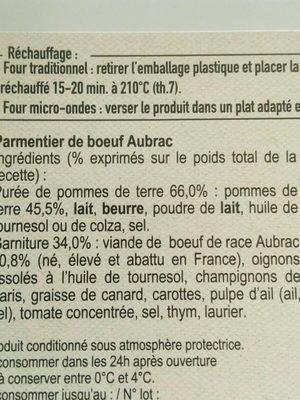 Viande hachée pur boeuf, 5% MAT.GR - Ingrédients - fr