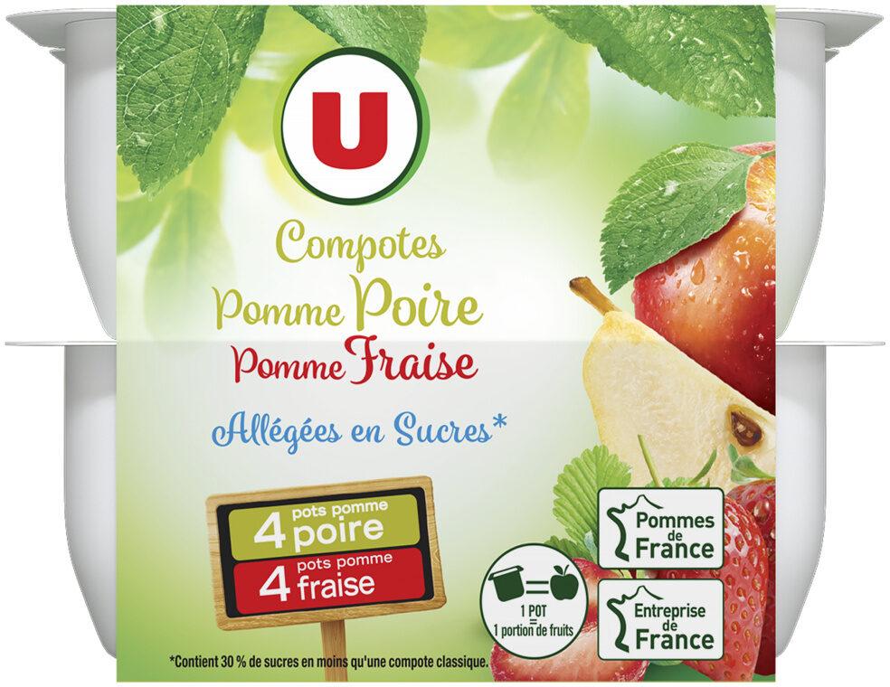 Coupelle allégée dessert de fruits pomme poire et pomme fraise - Produit - fr