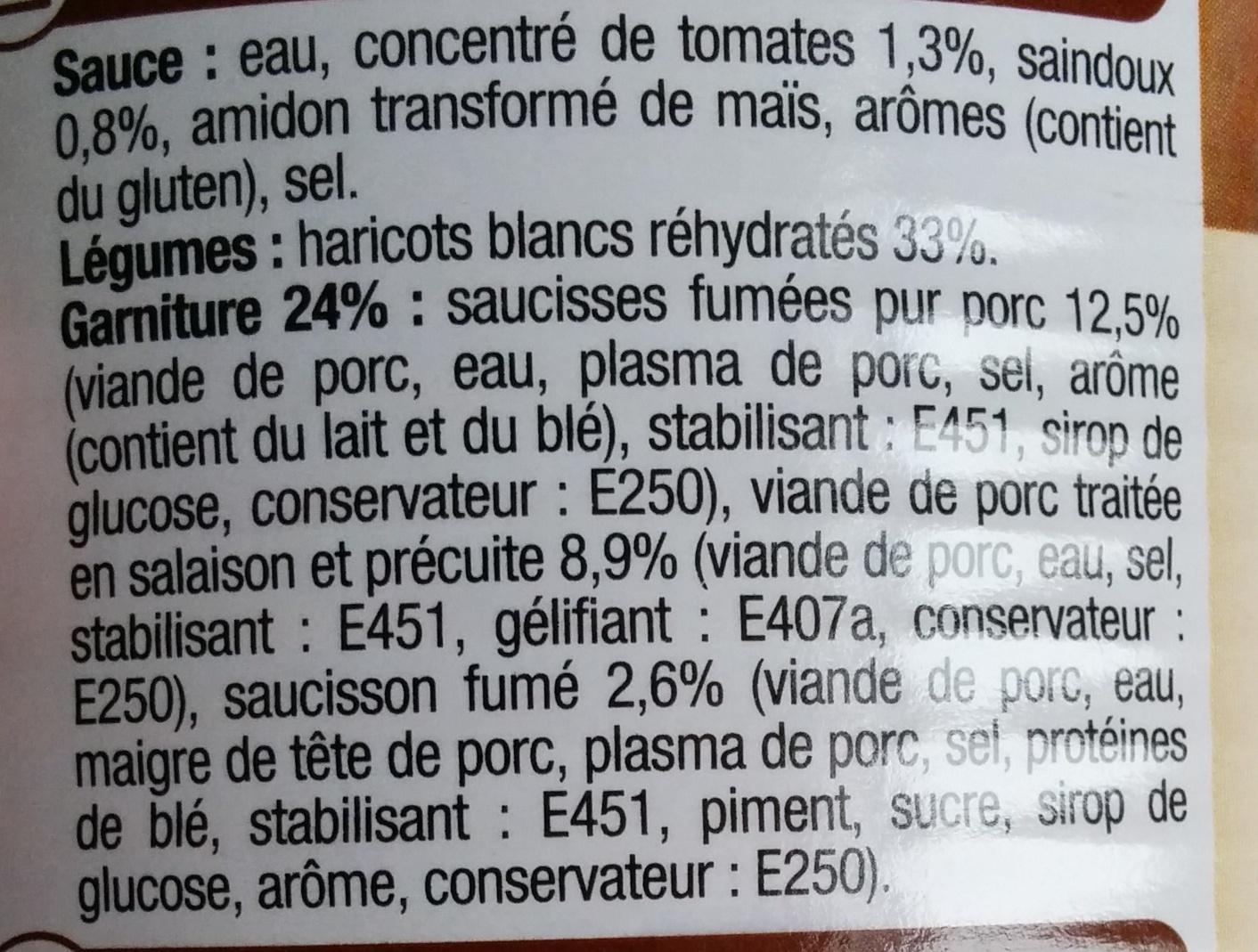 Cassoulet - Charcuterie Pur Porc - Ingredients