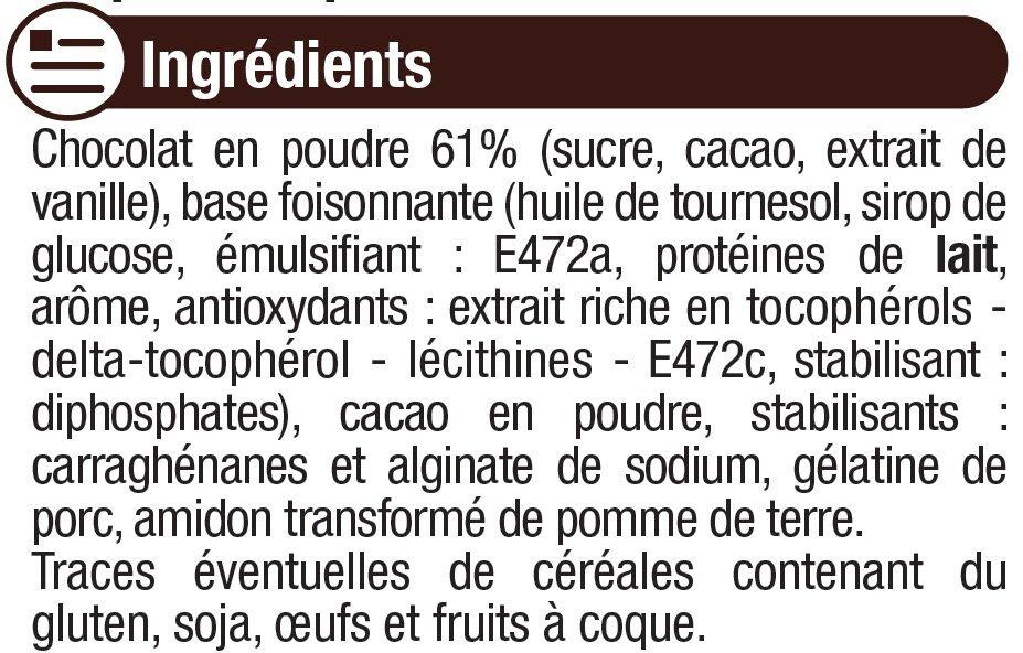 Préparation pour mousse au chocolat - Ingrédients