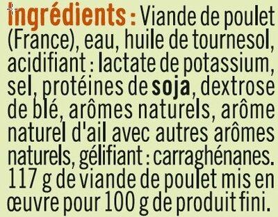 Emincés de poulet traité en salaison cuite et grillé - Ingredienti - fr