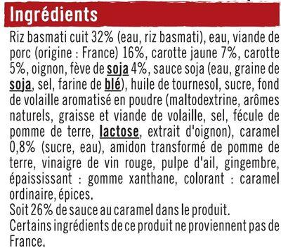 Porc au caramel et riz - Ingrédients - fr