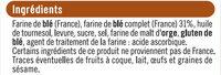 Pain grillé au blé complet - Ingrédients - fr