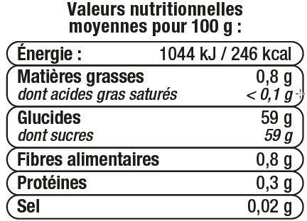 Confiture de fraises 50% de fruits - Informazioni nutrizionali - fr