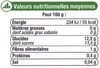 Ananas tranches entières pur jus - Informations nutritionnelles