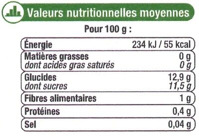 Ananas tranches entières pur jus - Informations nutritionnelles - fr