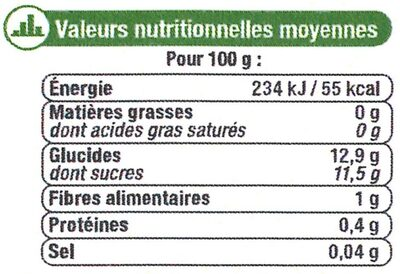 Ananas tranches au jus d'ananas - Informations nutritionnelles