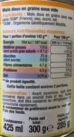 Maïs doux en grains - Voedigswaarden
