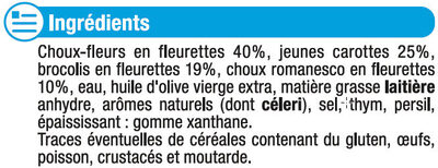 Légumes Vapeur chou fleur, chou romanesco, brocolis et carottes - Ingredients