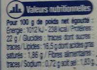 Thon Entier à l'Huile de Tournesol - Informations nutritionnelles
