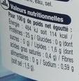 Thon en tranche - Informations nutritionnelles