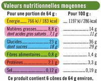 Cônes Chocolat Pistache - Nutrition facts