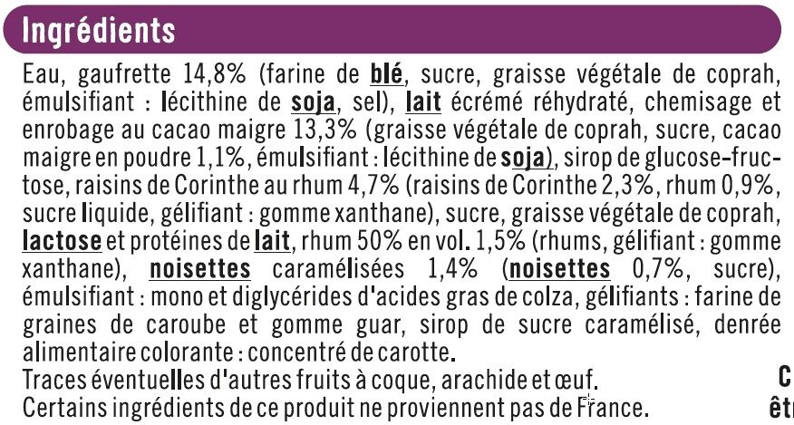 Cônes rhum raisins - Ingrediënten