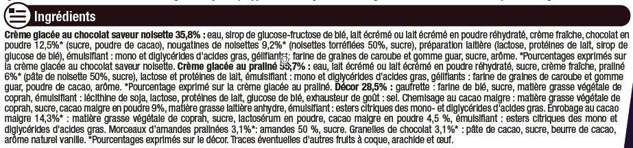 Cônes façon rocher (noisette et chocolat), - Ingrediënten