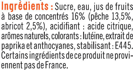 Sirop de recette gourmande pêche/abricot - Ingredients - fr