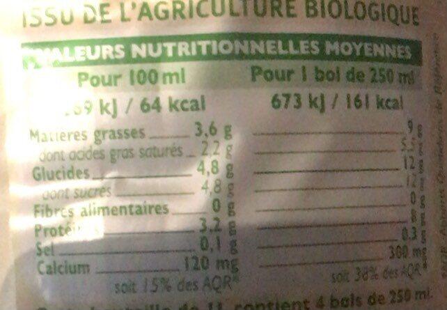 Lait UHT biologique entier - Informations nutritionnelles - fr