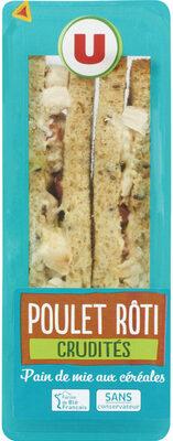 Sandwich club poulet rôti crudités - Produit - fr