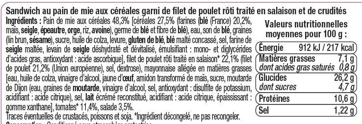 Sandwich club poulet rôti crudités - Informations nutritionnelles - fr