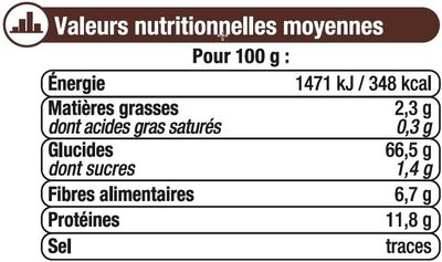 Farine de sarrasin - Informations nutritionnelles