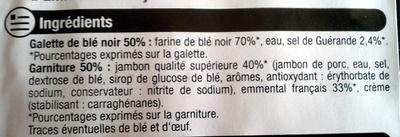 Galettes fourées, jambon emmental - Ingrédients