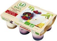 Yaourt brassé nature sur lit de fruits (frambois myrtille poire) - Produit