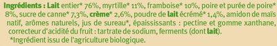 Yaourt brassé nature sur lit de fruits (frambois myrtille poire) - Ingrédients