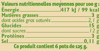 Yaourt brassé nature sur lit de fruits (frambois myrtille poire) - Informations nutritionnelles
