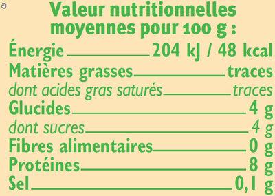 Fromage frais nature au lait pasteurisé  0% de MG - Nutrition facts