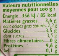 Fromage frais nature au lait pasteurisé 6% de MG - Valori nutrizionali - fr