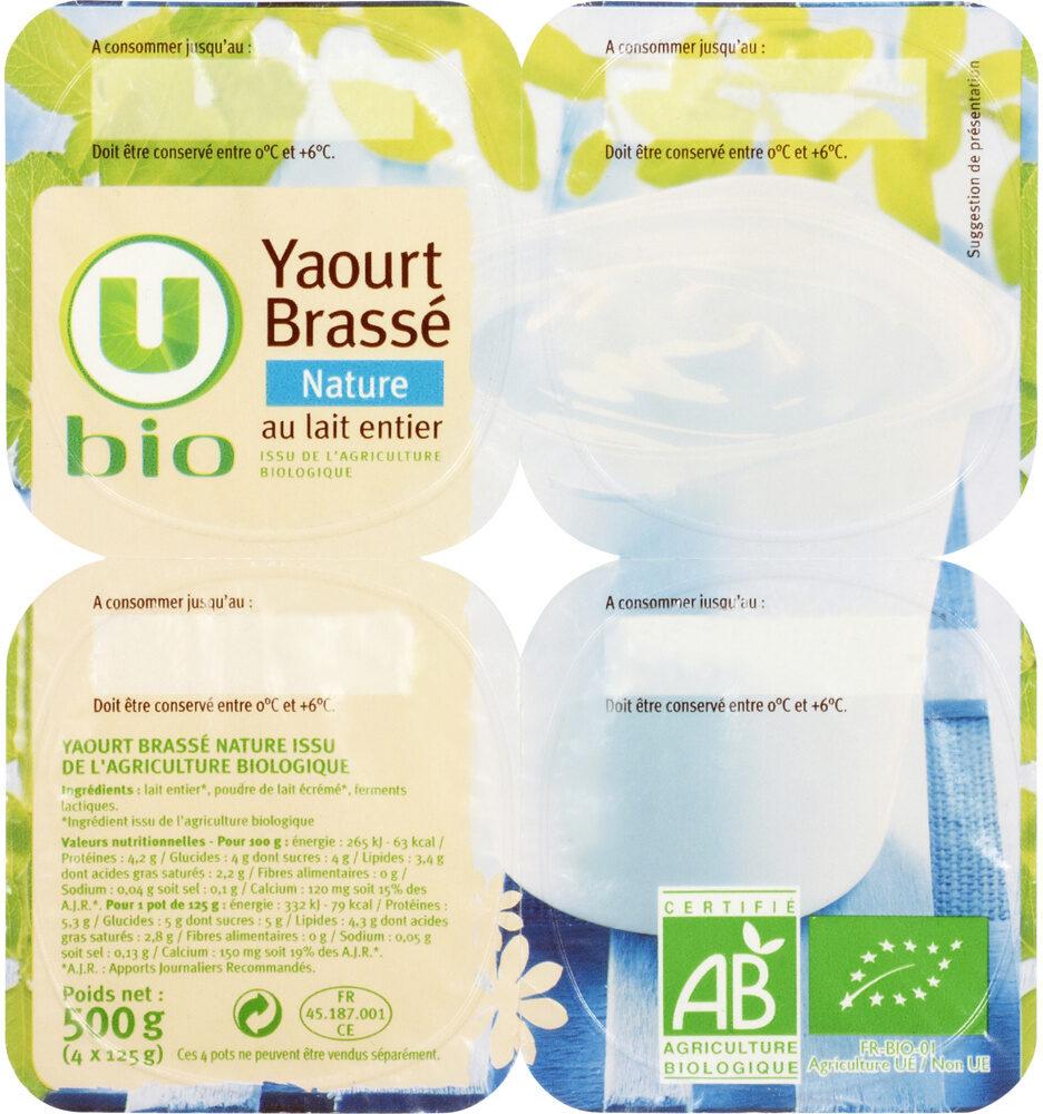 Yaourt brassé nature au lait entier nature - Produit - fr