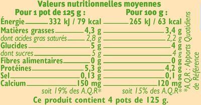 Yaourt brassé nature au lait entier nature - Informations nutritionnelles - fr