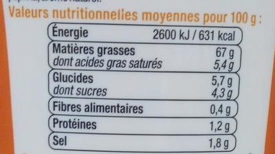 Sauce Samourai - Nutrition facts - fr
