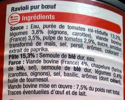 Ravioli, Pur Bœuf - Ingrédients - fr