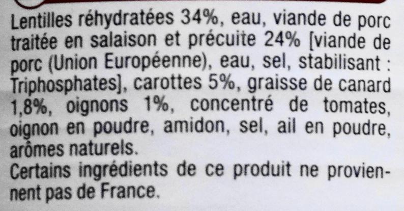Petit salé aux Lentilles Cuisiné à la Graisse de Canard - Ingredients - fr