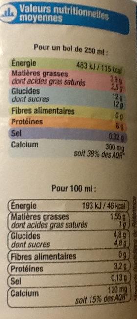 Lait 1/2 écrémé - Nutrition facts