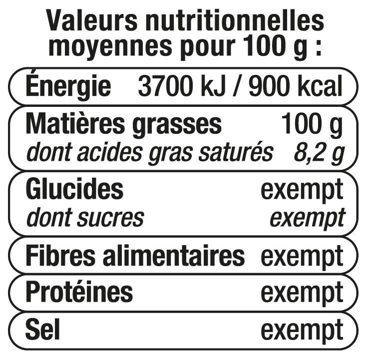 Huile de Noisette - Información nutricional