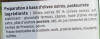 Tapenade Noire - Ingrédients