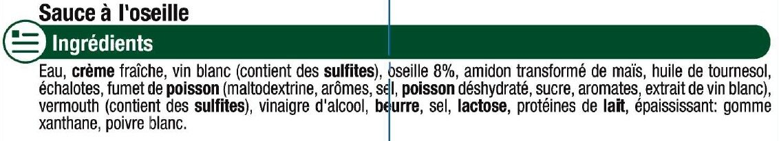 Sauce liquide à l'oseille - Ingrédients
