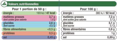Sauce liquide à l'oseille - Nutrition facts - fr