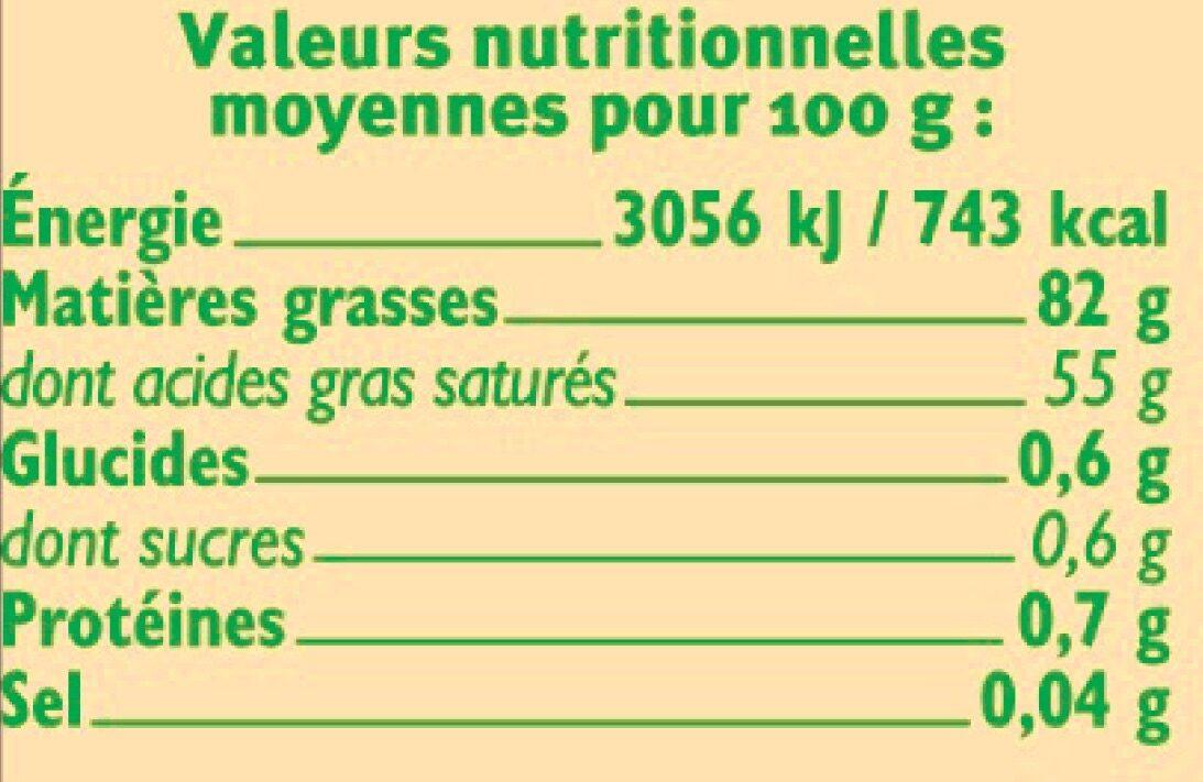 Beurre doux  82% de MG - Voedigswaarden