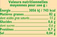 Beurre doux 82% de MG - Informations nutritionnelles