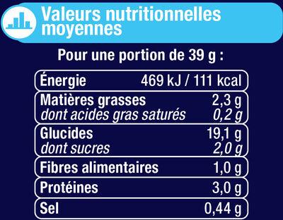 Pain de mie sandwich nature - Informations nutritionnelles