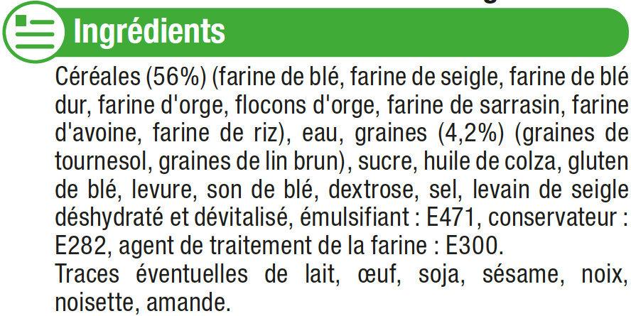 Pain de mie grandes tranches aux céréales - Ingredienti - fr