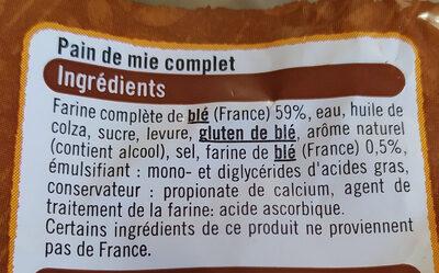 Pain de mie sandwich complet - Ingrédients - fr