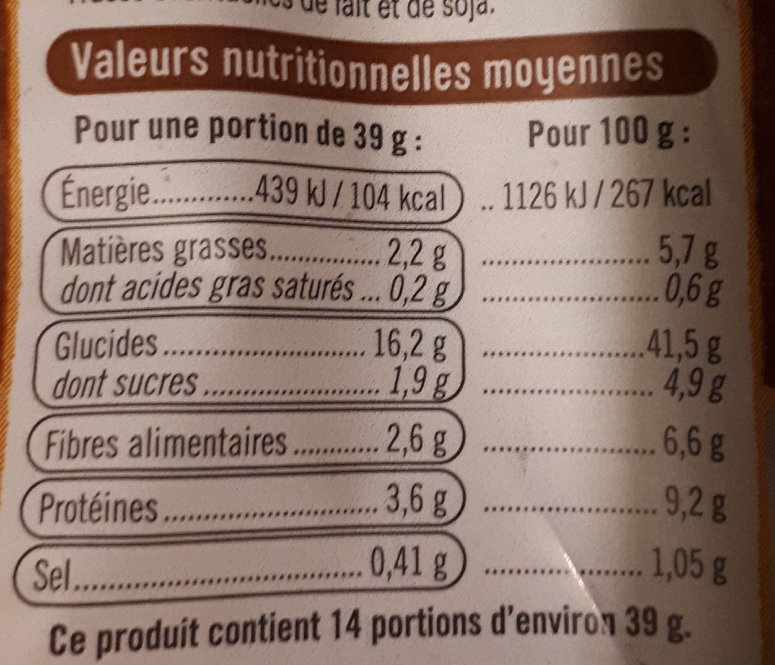 Pain de mie sandwich complet - Informations nutritionnelles - fr