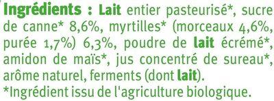 Yaourts Brassés Sucrés aux Myrtilles - Ingrédients