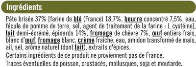 Tarte chèvre et épinards - Ingredients