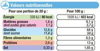 Chicorée café au lait - Voedingswaarden - fr